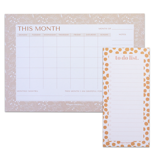 MONTHLY PLANNER & TO DO LIST SET - Paper Society Stationery