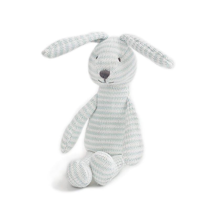 Blue Bunny Stripe Cotton Knit Plush Toy