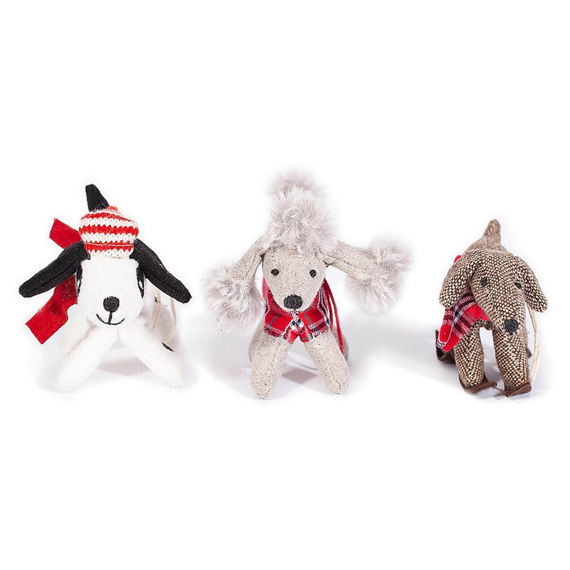 Assorted Plush Winter Dog Ornaments