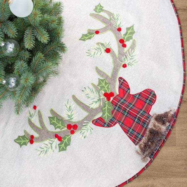Tartan Reindeer Christmas Tree Skirt