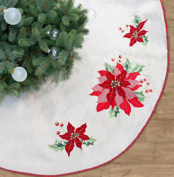 Poinsettia Christmas Tree Skirt