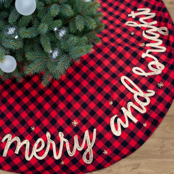 Merry & Bright Buffalo Plaid Christmas Tree Skirt