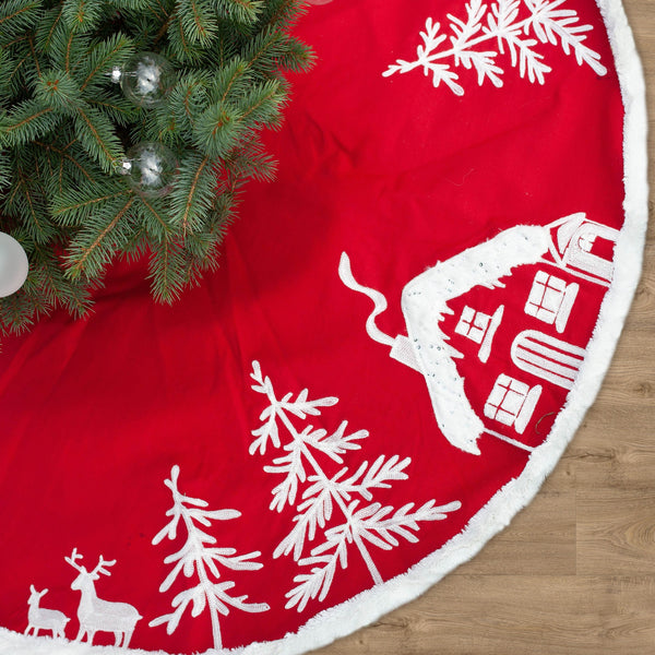 Snowy Village Christmas Tree Skirt