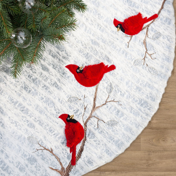Cardinal Bird Christmas Tree Skirt