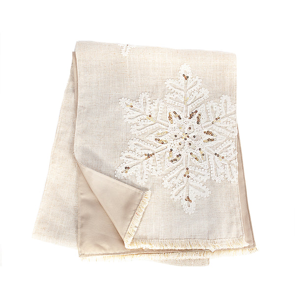 Linen Snowflake Table Runner