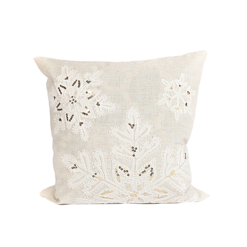 Linen Snowflake Pillow Cover