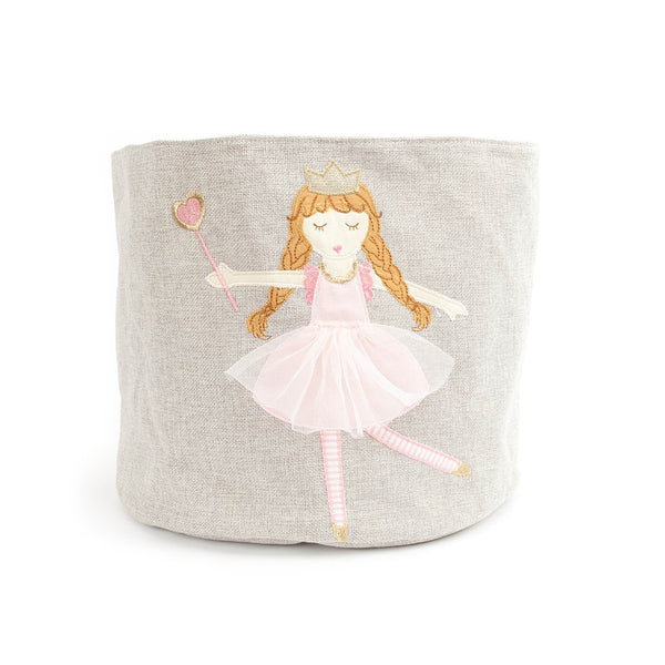 PRINCESS GRAY LINEN TOY STORAGE BIN