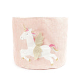 Unicorn Pink Linen Toy Storage Bin