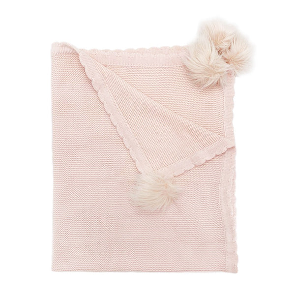 Pink Pom Pom Cotton Baby Blanket