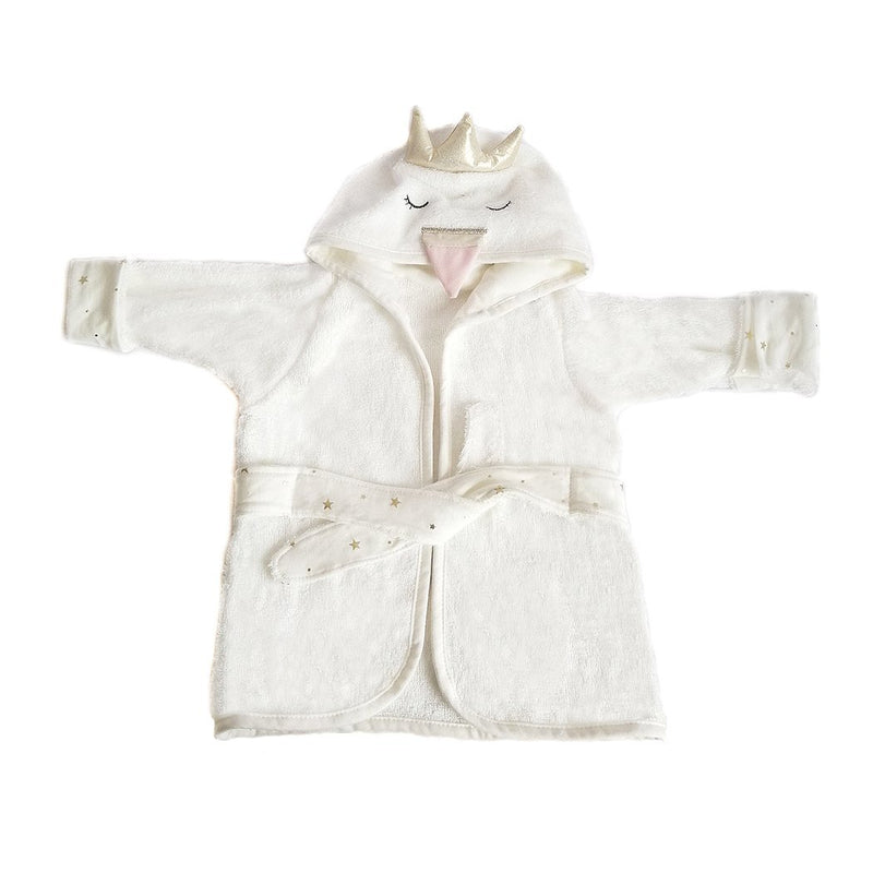 SWAN BAMBOO TERRY IVORY BABY BATH ROBE