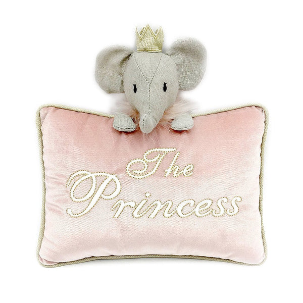 'THE PRINCESS' PINK VELVET ACCENT PILLOW 'ETTA THE ELEPHANT'
