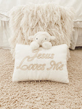 'Jesus Loves Me' Lamb Accent Pillow