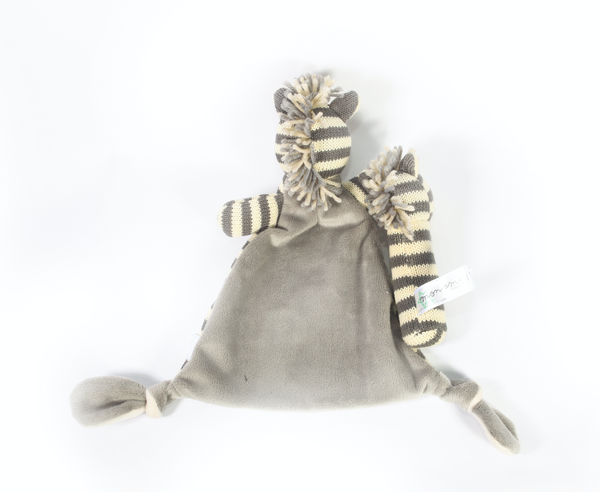 Zebra Cuddle Knit Rattle And Security Blankie Gift Set