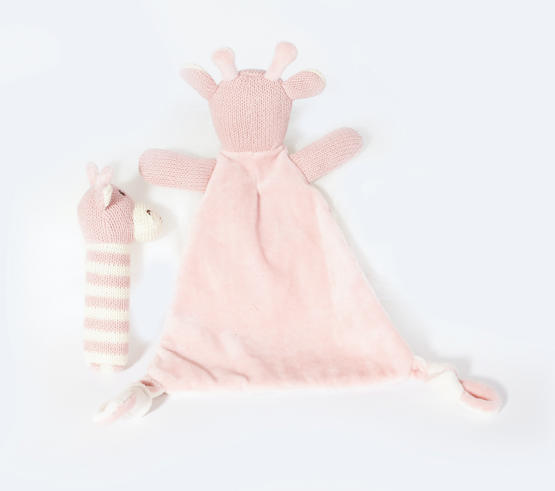 Giraffe Cuddle Knit Rattle and Blankie Gift Set