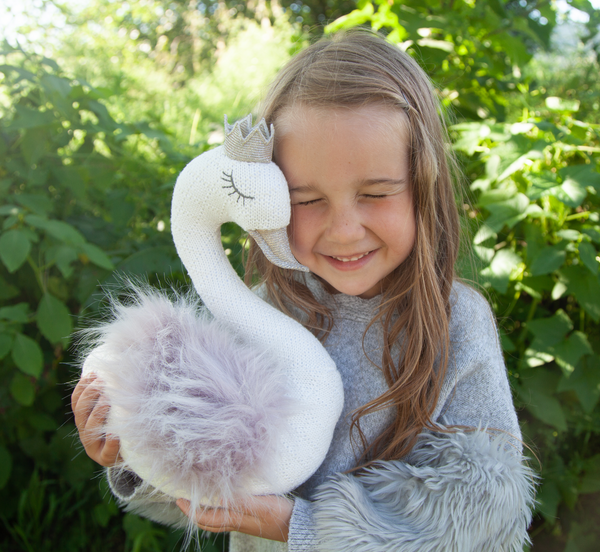 'Sofi' Princess Swan Knit Stuffed Animal