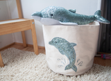 Sequin Dolphin Medium Canvas Storage Bin