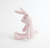 Pink Striped Bunny Knit Plush Toy