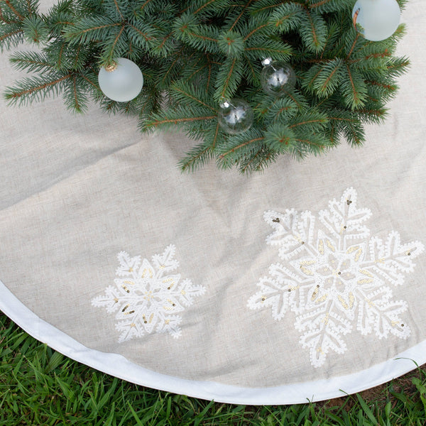 Linen Snowflake Christmas Tree Skirt