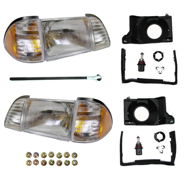 COMPLETE Headlight Kit for 87 to 93 Foxbody Mustang - Clear or Smoke