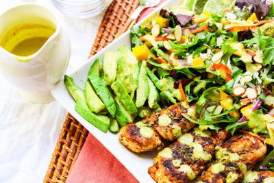 Blackened Chicken Caribbean Salad With Spicy Pineapple Dressing