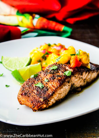 Jerk Salmon With Honey Mango Salsa Recipe