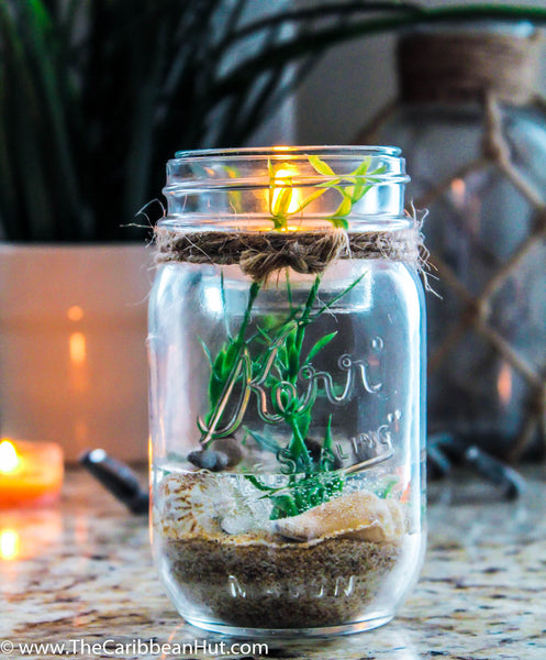 Natural mason jar handmade tealight holder. Refillable and reusuable forever tealight holder made with real sand and seashells.