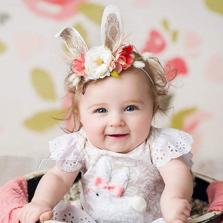 Artificial Flower Headband Baby Girls Fashion Lace Rabbit Ear Hair Band Newborn Photography Prop Kids Birthday Party Hairband