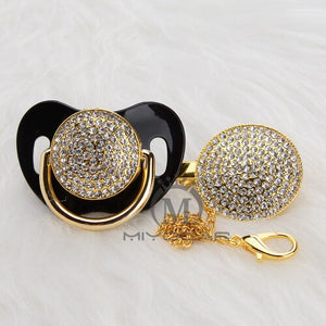 MIYOCAR bling all silver gold pacifier and clip set unique design BPA free SGS pass safe AW