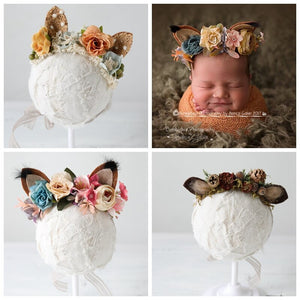 Fox Ears NewBorn Props Headband Flower Baby Girl Photo Halo Newborn Photography Props First Birthday Floral Crown Hairpiece Gift