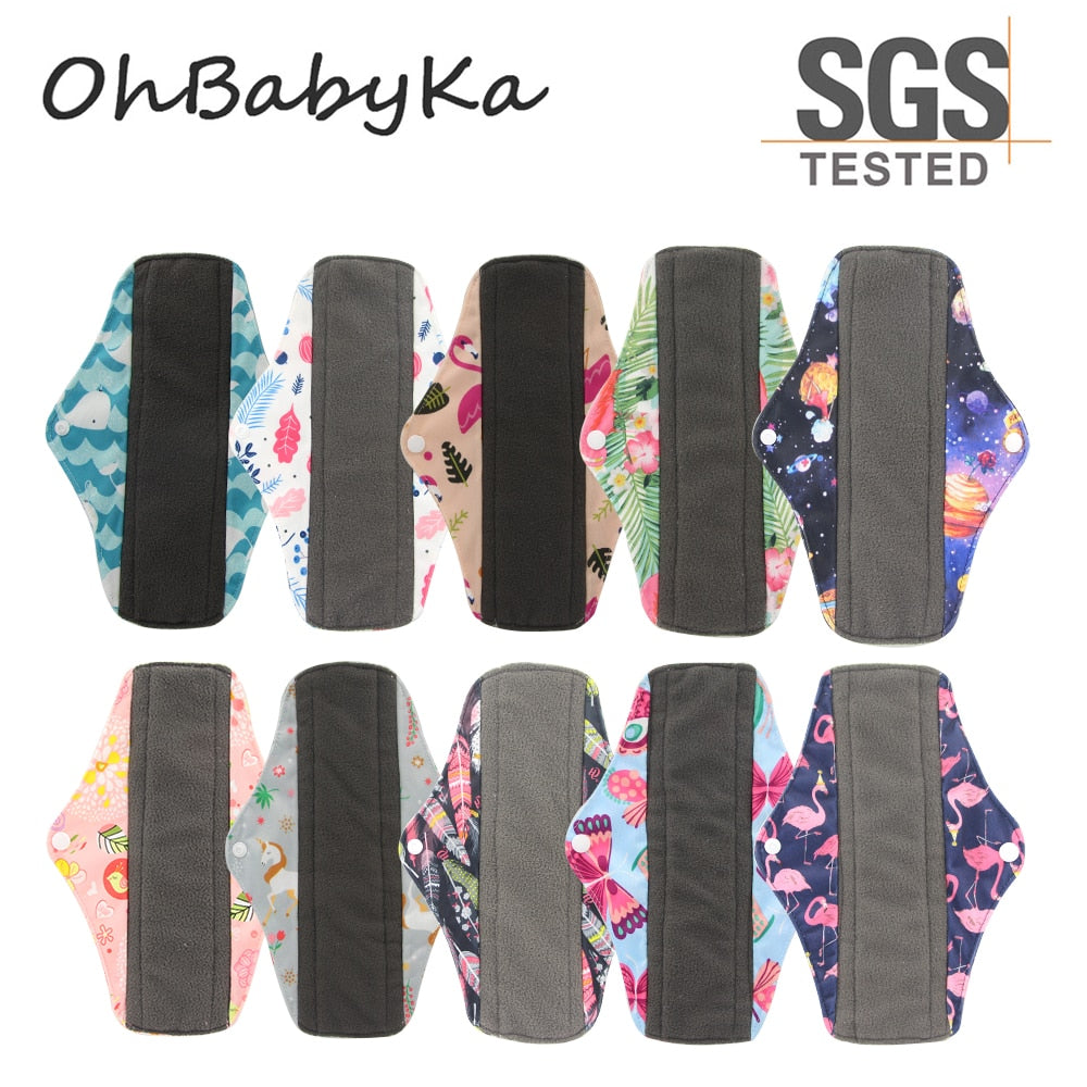 OhBabyKa Washable Sanitary Pads Bamboo Charcoal Cloth Pads Reusable Serviette Hygienique Print Women Menstrual Pads Size S M L