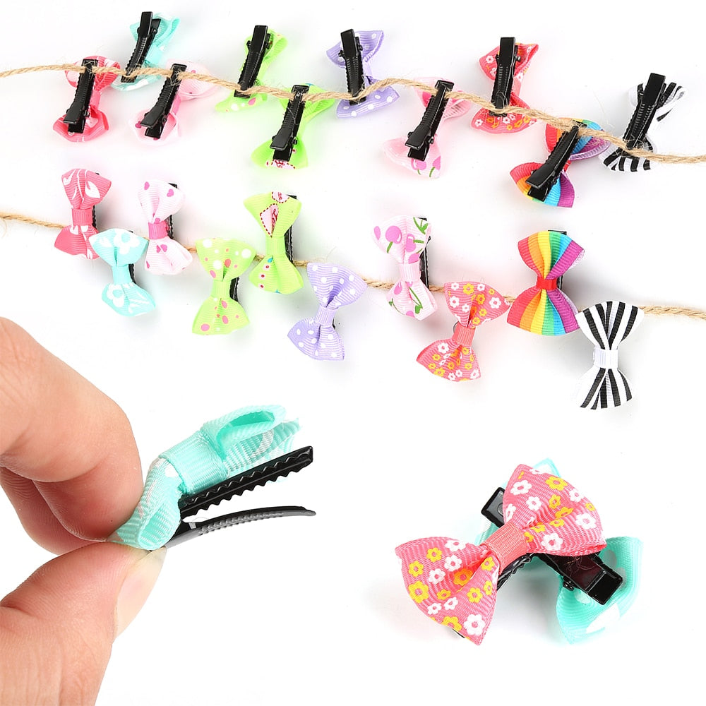 10Pcs/lot Fashion Girls Kids Candy Color Dot Flower Print Ribbon Bow Hairpin Hair Clips Kids Hair Accessories FZH