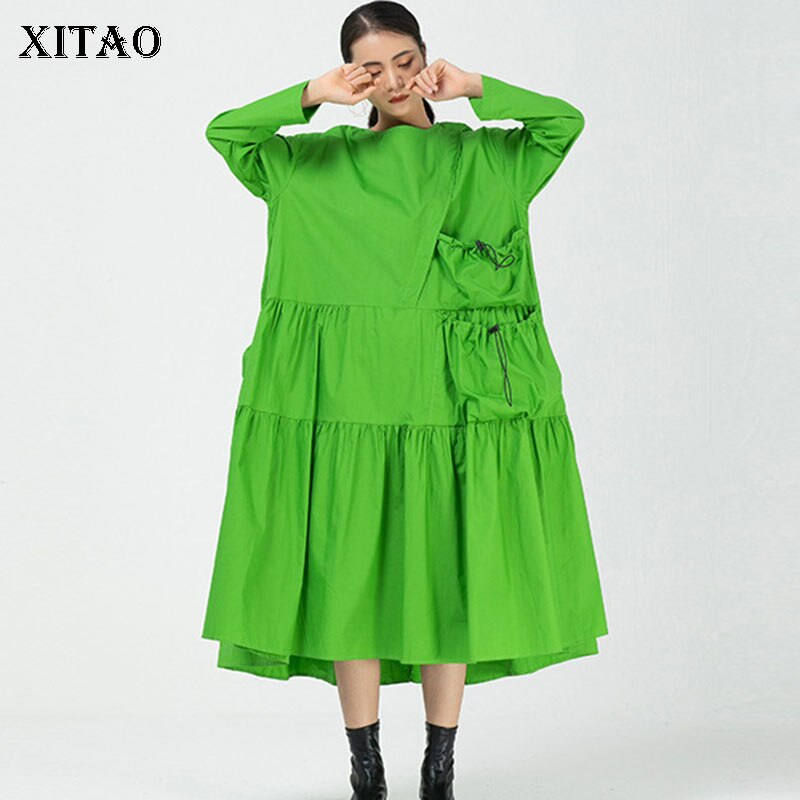 XITAO Patchwork Wrinkle Pockets Dress Women 2020 Autumn Casual Fashion New Style Temperament O Neck Full Sleeve Dress ZP3051