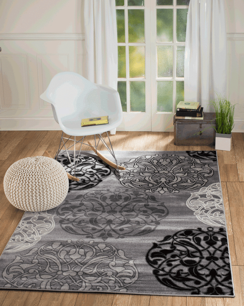 2048 Gray Black Contemporary Area Rugs