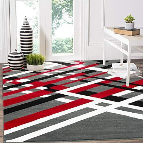 2098 Gray Red Abstract Contemporary Area Rugs