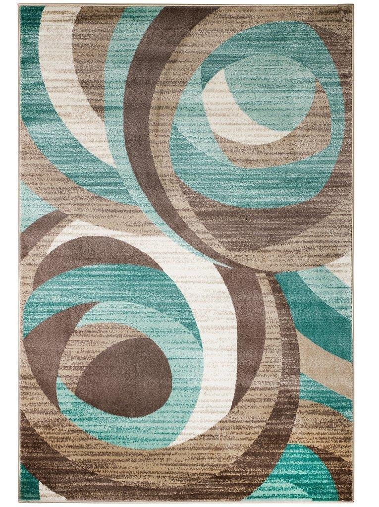 2037 Aqua Blue Abstract Contemporary Area Rugs