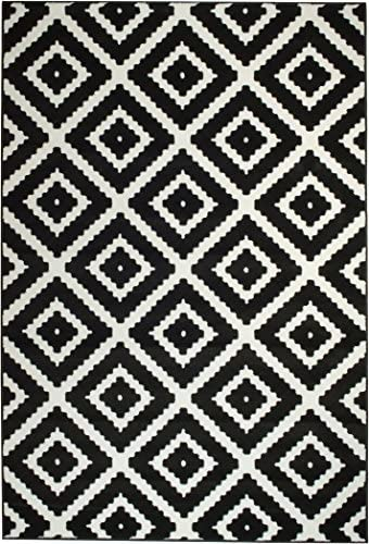 2046 Black White Diamond Design Contemporary Area Rugs