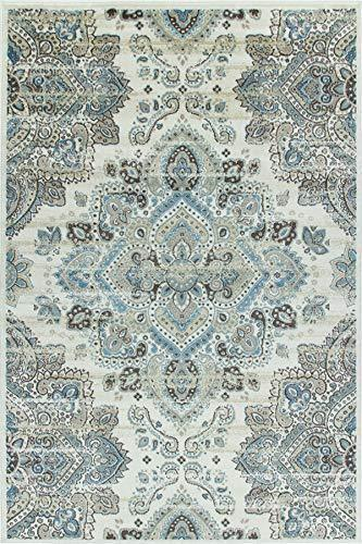 4642 Ivory Blue Bohemian Distressed Oriental Area Rugs