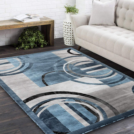 2102 Blue Geometric Contemporary Area Rugs