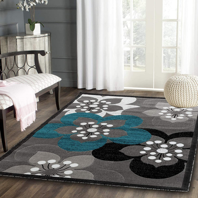 5071 Turquoise Gray Floral Contemporary Area Rugs