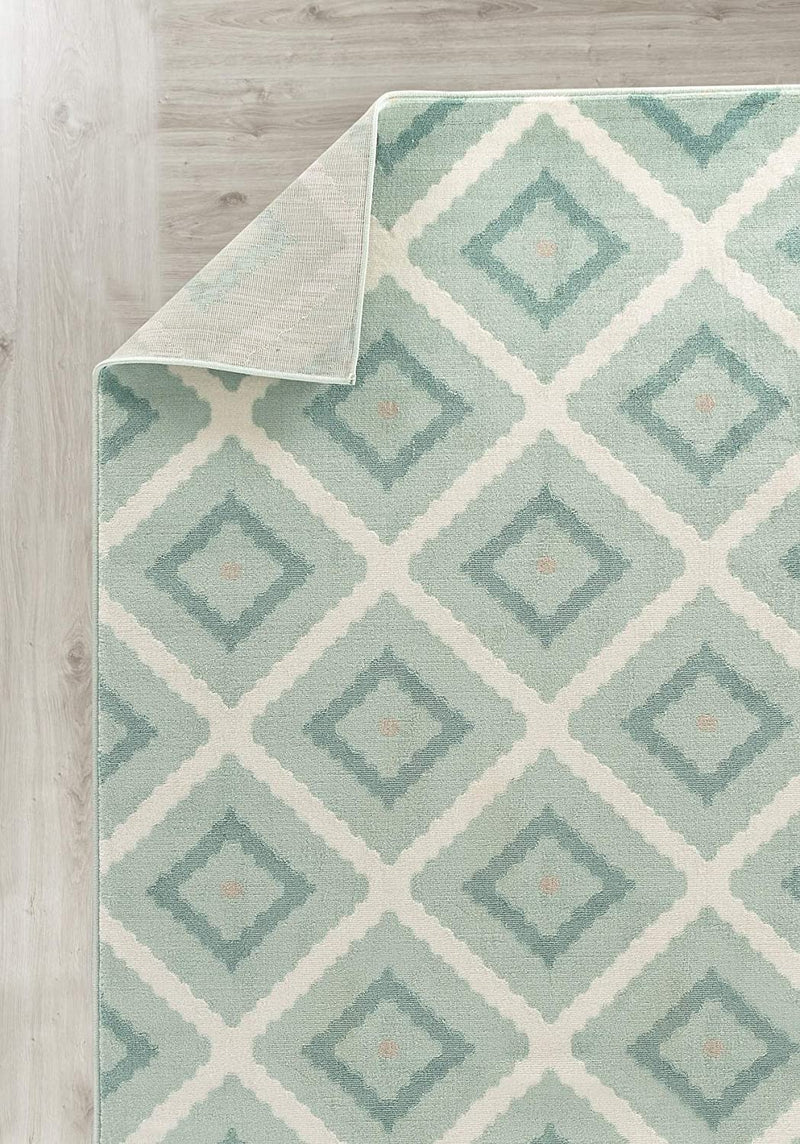5196 Turquoise Geometric Contemporary Area Rugs