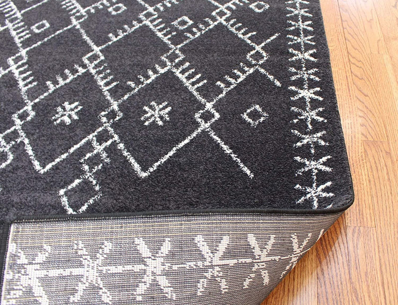2319 Black Moroccan Oriental Distressed Farmhouse Area Rugs