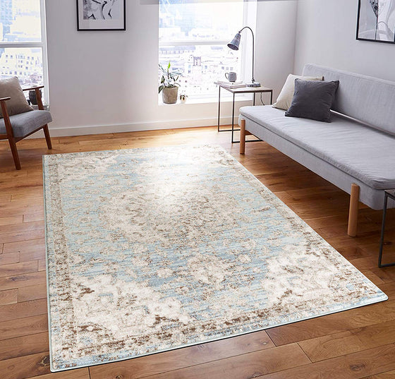 5057 Light Blue Medallion Distressed Oriental Area Rugs