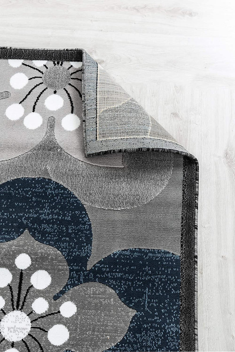 5071 Navy Blue Gray Floral Contemporary Area Rugs