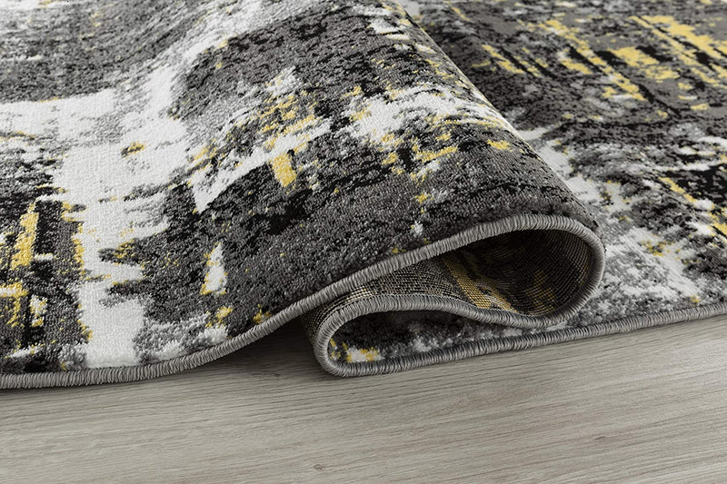 5008 Yellow Gray Distressed Contemporary Area Rugs
