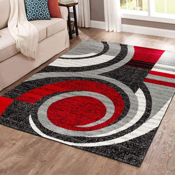 5025 Red Gray Abstract Contemporary Area Rugs
