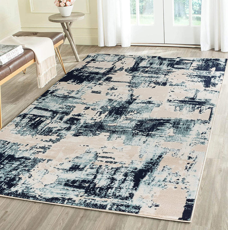 5089 Ivory Blue Farmhouse Distressed Contemporary Area Rugs