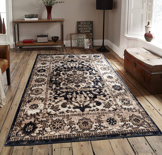5056 Dark Blue Medallion Distressed Oriental Area Rugs