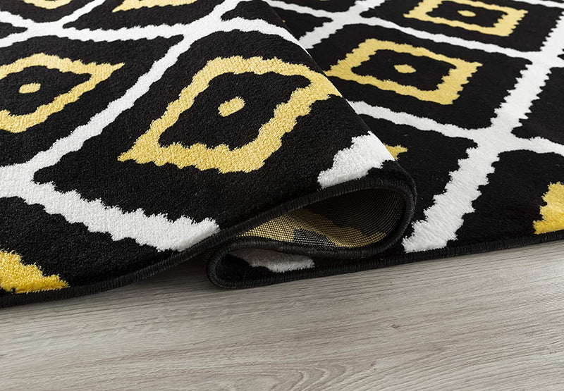 5107 Yellow Black Geometric Contemporary Area Rugs