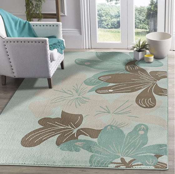 5197 Turquoise Floral Contemporary Area Rugs