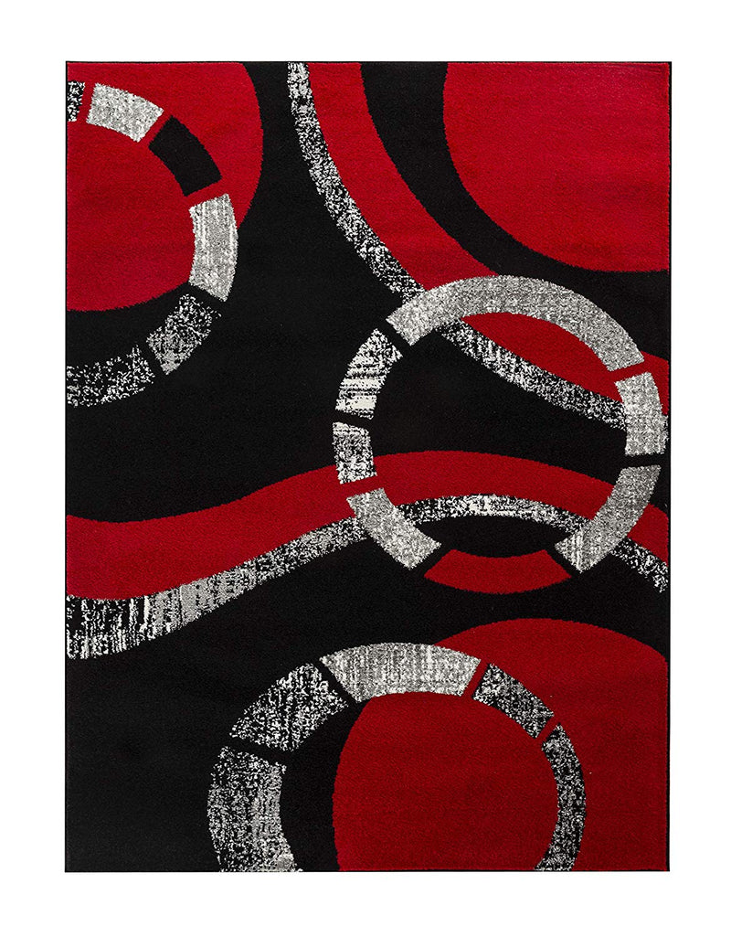 5019 Red Black Geometric Contemporary Area Rugs
